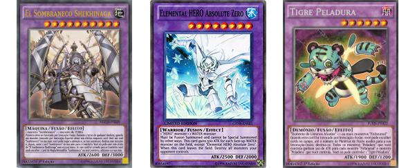 El Sombraneco, Shekhinaga, Elemental HERO Absolute Zero, Tigre Peladura