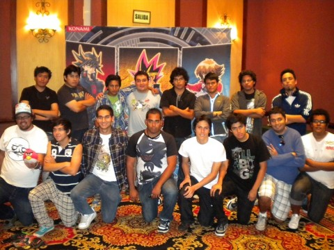 Back Row (Left to Right): 9th Place: Ariel Quispe (Bolivia), 10th Place: Michael Herrera (Peru), 11th Place: Jorge Garcia (Ecuador), 12th Place: Hector Delgado (Peru), 13th Place: Johan Cordova (Peru), 14th Place: Leiner Lucero (Ecuador), 15th Place: Angelo Thorni (Peru), 16th Place: Sebastian Mora (Chile). Front Row (left to right): 1st Place: Martin Yerovi (Ecuador), 2nd Place: Jonatan Ruiz (Ecuador), 3rd Place: Carlos Medina (Peru), 4th Place: Cristian Chavez (Peru), 5th Place: Ian Mendoza (Peru), 6th Place: Adolfo Yahya (Peru), 7th Place: Claudio Ulloa (Chile), 8th Place: Gerardo Delgado (Peru).