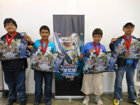 (Left to Right) Gabriel Canas (3rd Place - Guatemala - Dragons), Diego Diaz (1st Place - Guatemala - Dark World), Hugo Escobar (2nd Place - Guatemala - Blackwings), Kelvin Reyes (4th Place - Classic)