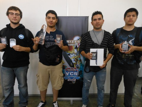 (Left to Right) Robert Boyajian (3rd Place - United States - Geargia), Angel Flores (1st Place - Mexico - HEROs), David Chavarria (2nd Place - El Salvador - Dino Rabbit), Manuel Diaz (4th Place - Costa Rica - Dino Rabbit)